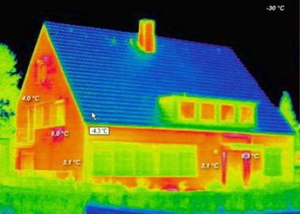 Тепловой снимок не утепленного дома
