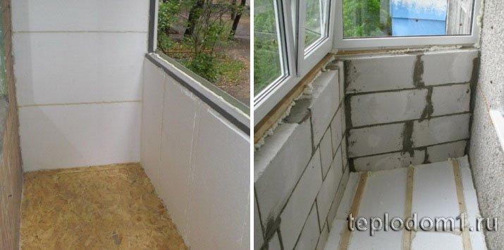 Пенопласт хорошо подходит для ремонта балкона изнутри