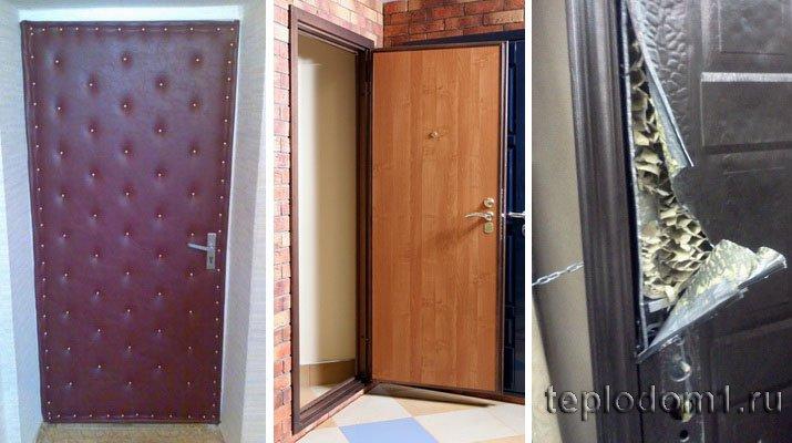 Двери утепляются различными материалами снаружи и изнутри