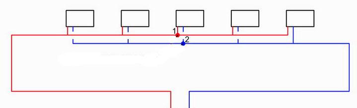 Схема попутной разводки отопительного трубопровода