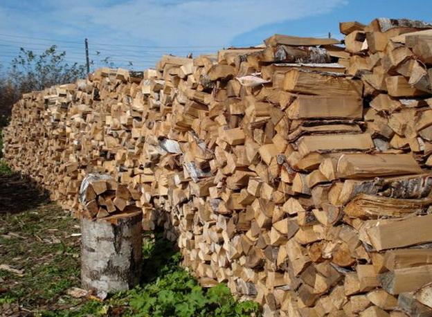 Большая куча дров для отопления зимой