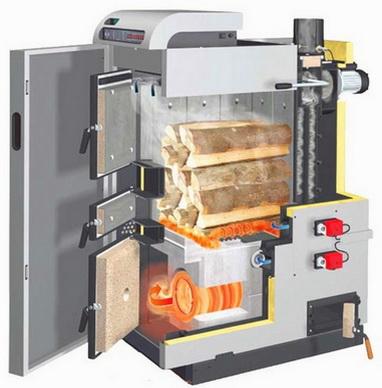 Пиролизный котел позволяет топить крупными дровами