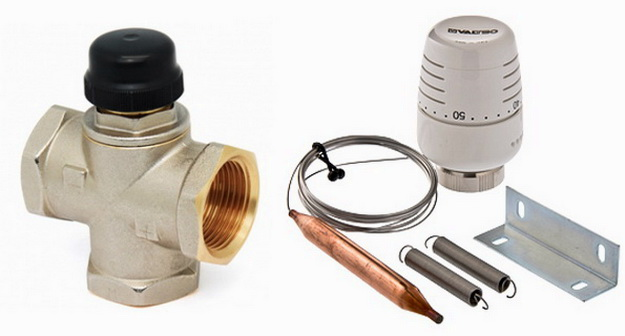 Термоголовка с клапаном обеспечивает регулировку температуры на обратке котла
