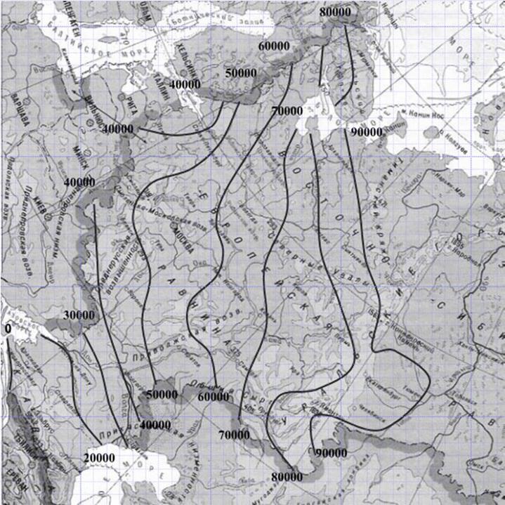 Карта индекса мороза для расчета утепления фундамента