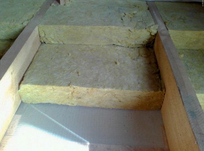 Минеральная вата укладывается между деревянных лаг