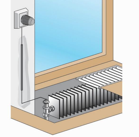Термостат может быть установлен на стене а клапан в корпусе самого конвектора