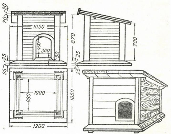 Конструкция простой квадратной будки для собаки