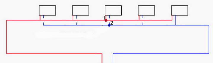 Попутная схема подключения радиаторов отоплния - петля Тихельмана