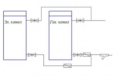 Схема подключения котла резерва для автоматического пуска