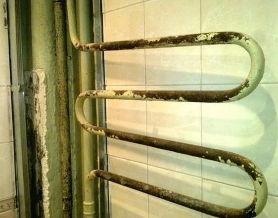 Срезаемый старый полотенцесушитель