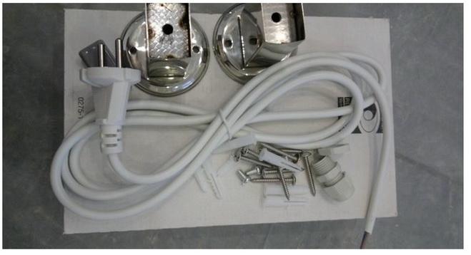 Комлектация электрического полотенцесушителя со шнуром с вилкой