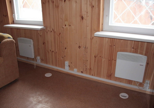 Электрические конвектора на стенах в небольшом доме