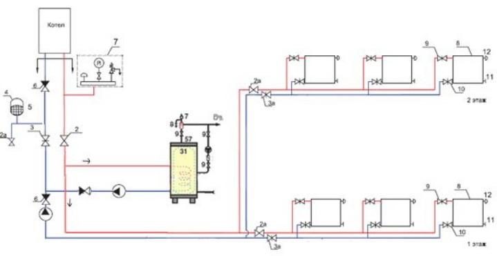 Схема тупиковая схема отопления с ГВС