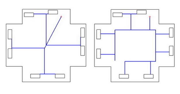 схема разводки труб под полом