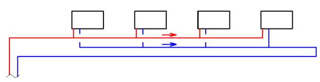 Попутная схема для водяного отопления