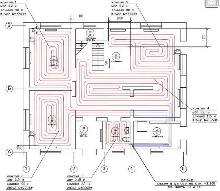 Схема теплого пола в доме