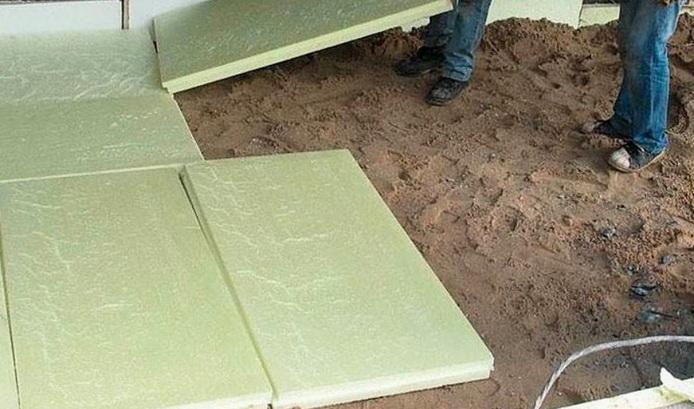 Укладка полистирола на песок