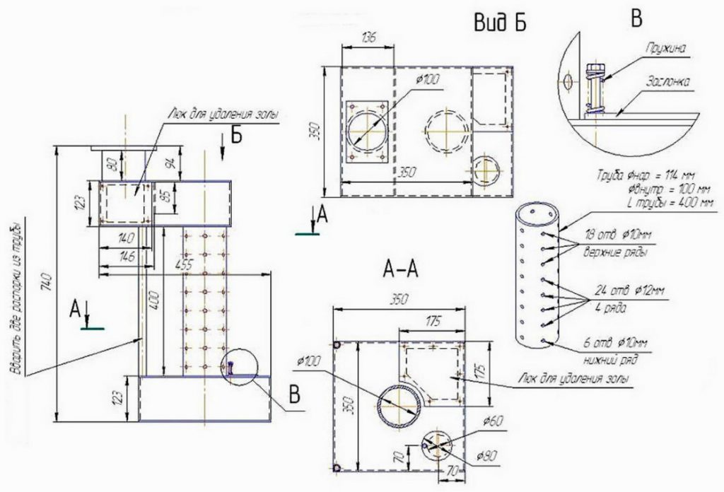 печь на отработке - чертеж, конструкция