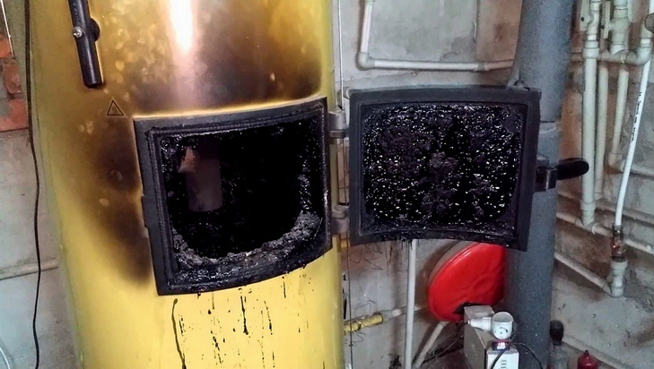Большие загрязнения в котле с пиролизным горением