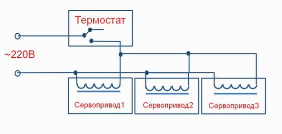Несколько сервоприводов на термостат