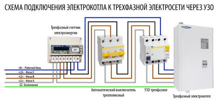 Электросхема включения котла