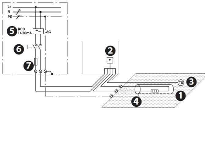 схема электрическая подключения греющего кабеля в полу или для труб