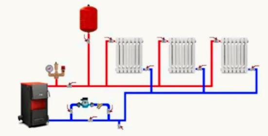 двухтрубная схема тупиковая для отопления