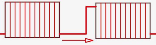 последовательное подключение радиаторов в однотрубной схеме